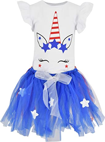 Girls 3 Piece 4th of July Blue Star Outfit 2t 3t 4t 5 6 7 8 Toddler Kids Clothes