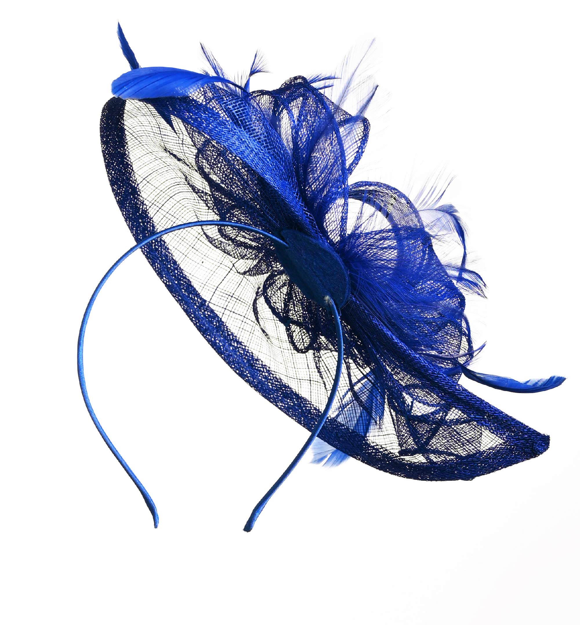 Fascinators Hat for Women Kentucky Derby Headband Wedding Mesh Feathers Tea Party Hair Clip (1-Royal) by Zivyes (Image #4)