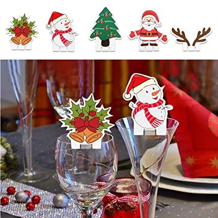 5ed99f4e5d4 TUPARKA 25PCS Cute Christmas Glass Decorations Cup Cards Table Decorations  for Wine Glass Decorations Christmas Party