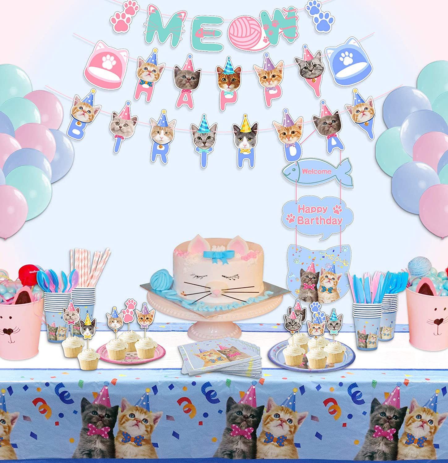 Serves 20 210 Pcs Cat Party Supplies Decorations Set Kitten Disposable Dinnerware Including Happy Birthday Banner Macaron Balloons Dinner Plates Dessert Plates Napkins Cups Cutlery Cupcake Toppers