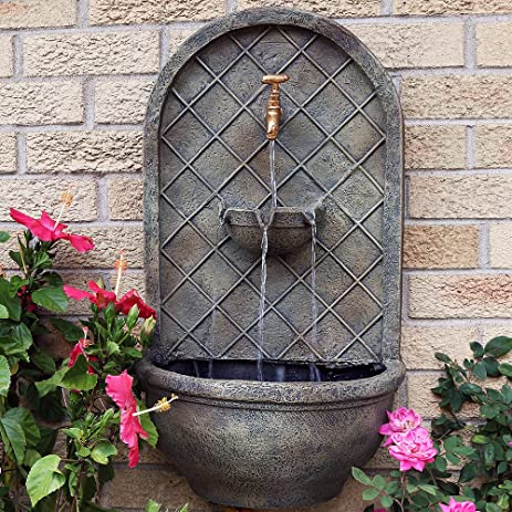 Sunnydaze Messina Outdoor Wall Fountain, With Electric Submersible Pump  26 Inch, Florentine Stone
