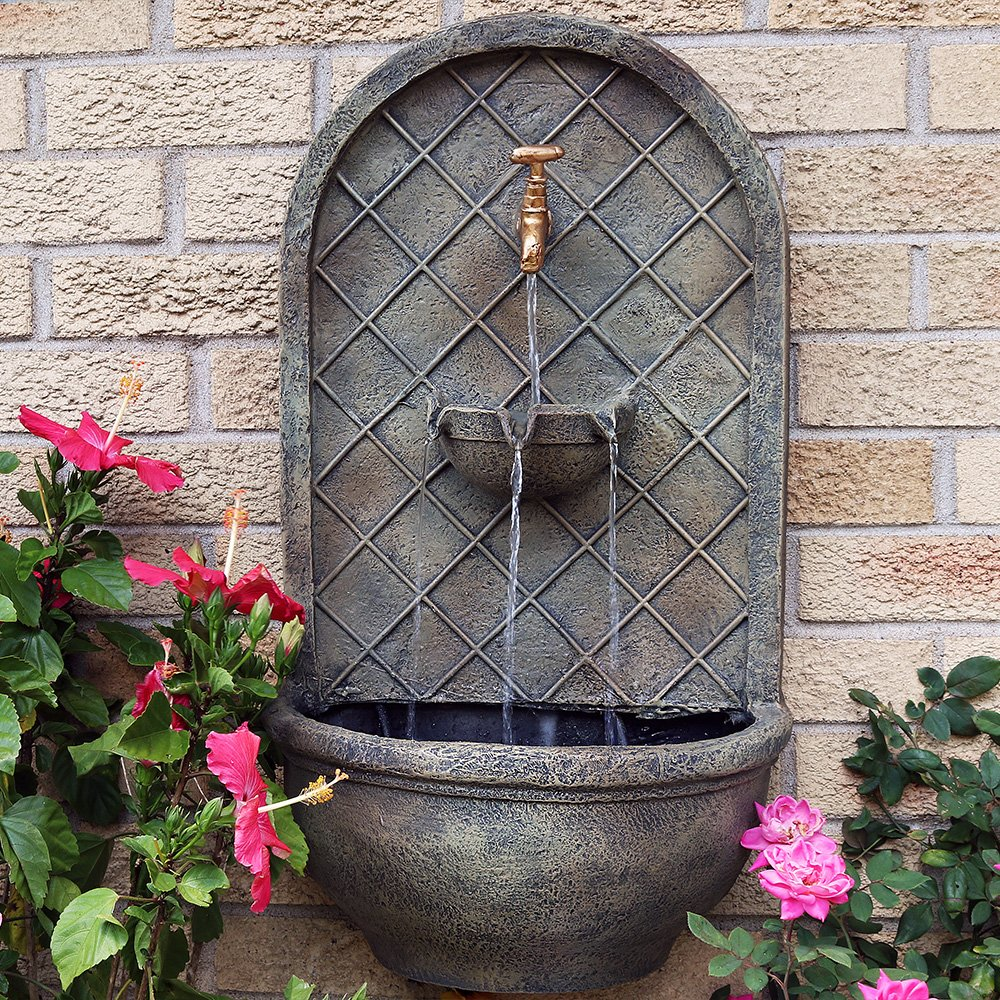 Sunnydaze Messina Outdoor Wall Fountain, with Electric Submersible Pump 26-Inch, Florentine Stone Finish