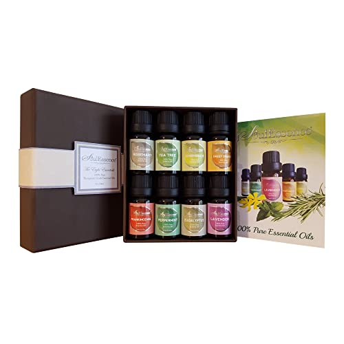 Only1MILLION SoulEssence® 8 pack Essential Oils Set Starter Pack - Pure Therapeutic Grade Aromatherapy massage oils - 10 ml per Bottle.