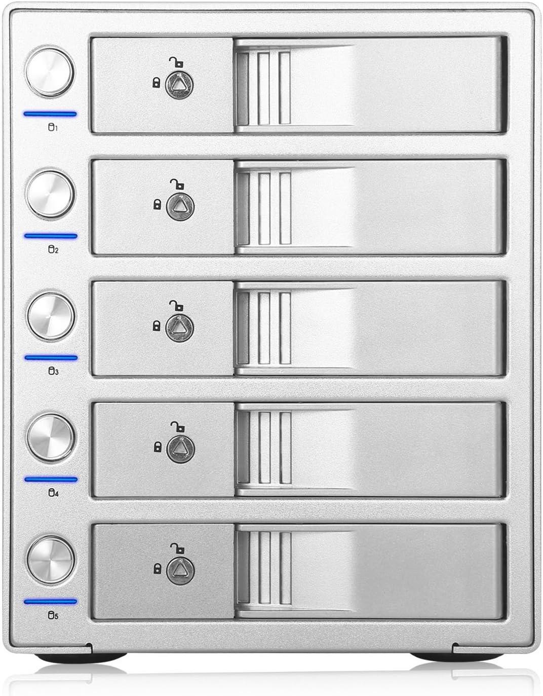 2X USB3.0 HUB SISUN 5 Bay USB 3.0 // Type C 3.5 inch SATA Hard Drive Enclosure Support 5 x 12TB HDD Enclosure Independent Control Switch