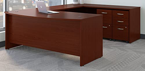 Bush Business Furniture SRC043MASU Series C 72W x 36D Bow Front U Shaped Desk with Mobile File Cabinets, Mahogany
