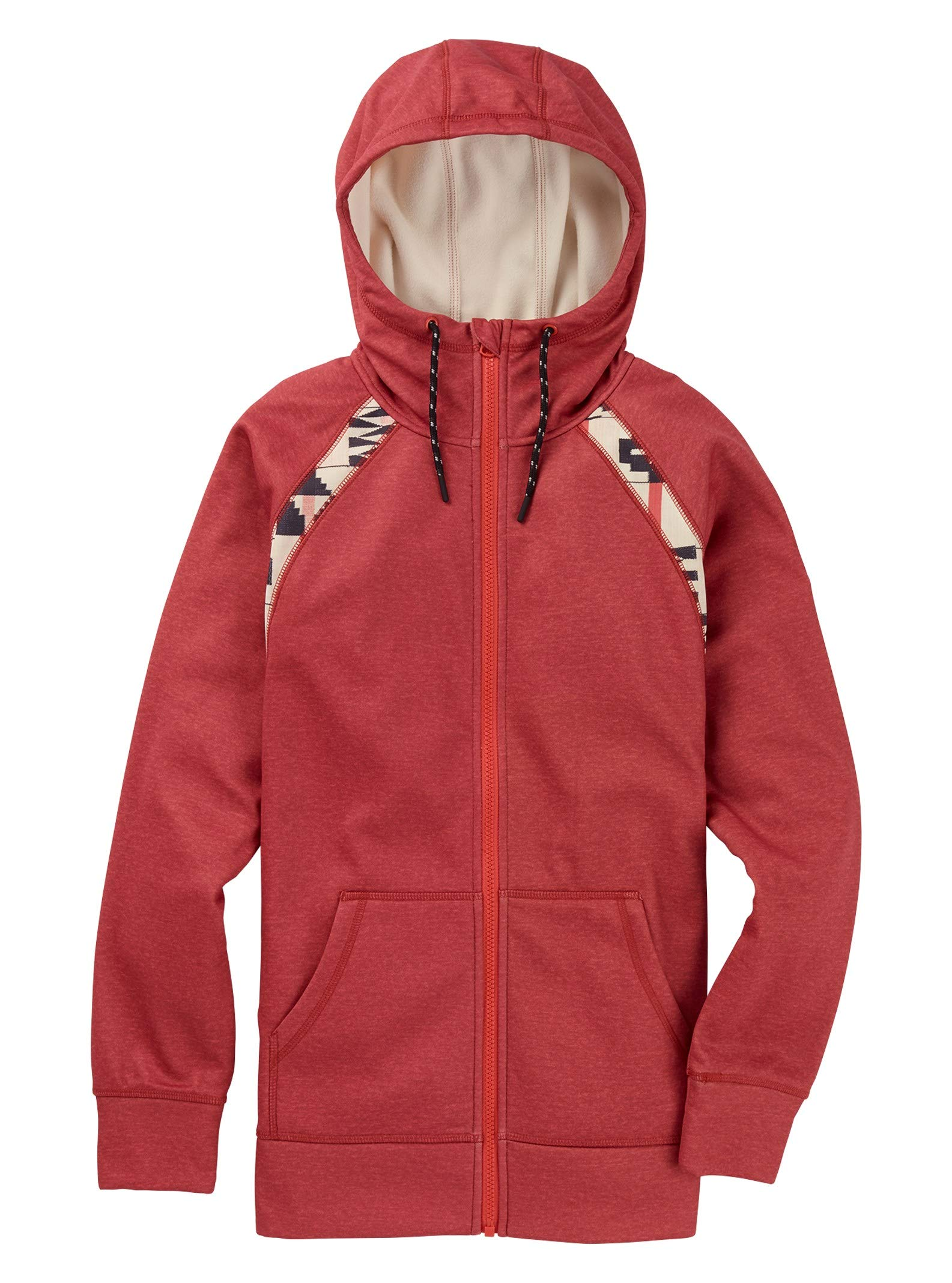 Burton Women's Crown Bonded Full-Zip Hoodie, Burnt Sienna Heather/ Burnt Sienna Brick Stripe, X-Small by Burton