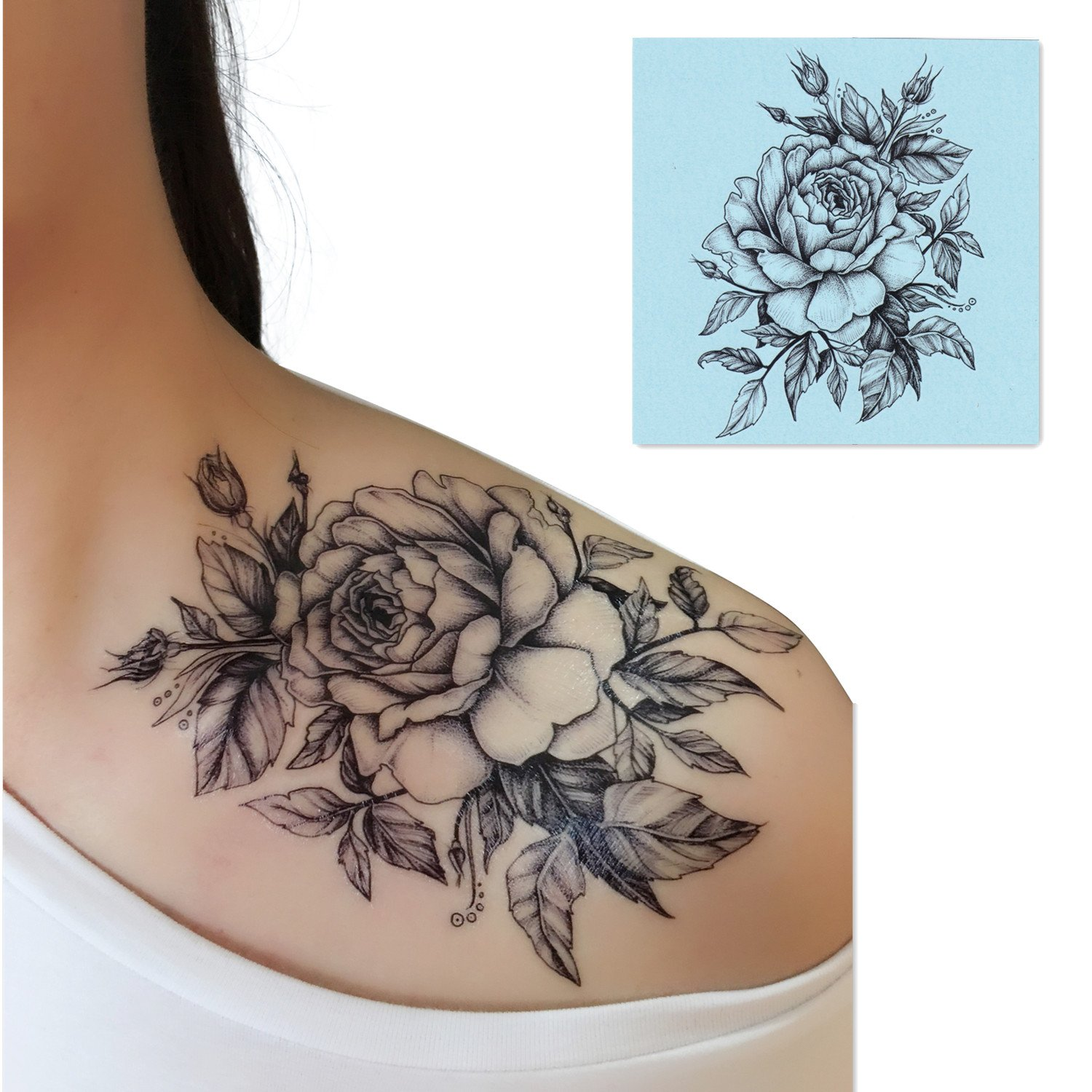 17e8f7230 Amazon.com : DaLin 4 Sheets Sexy Temporary Tattoos for Men Women Flowers  Collection (Black Rose) : Beauty