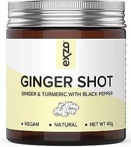 Polvo de inyección de jengibre con cúrcuma, pimienta negra, vitamina C natural y zinc – 30 vasos de bebida de salud