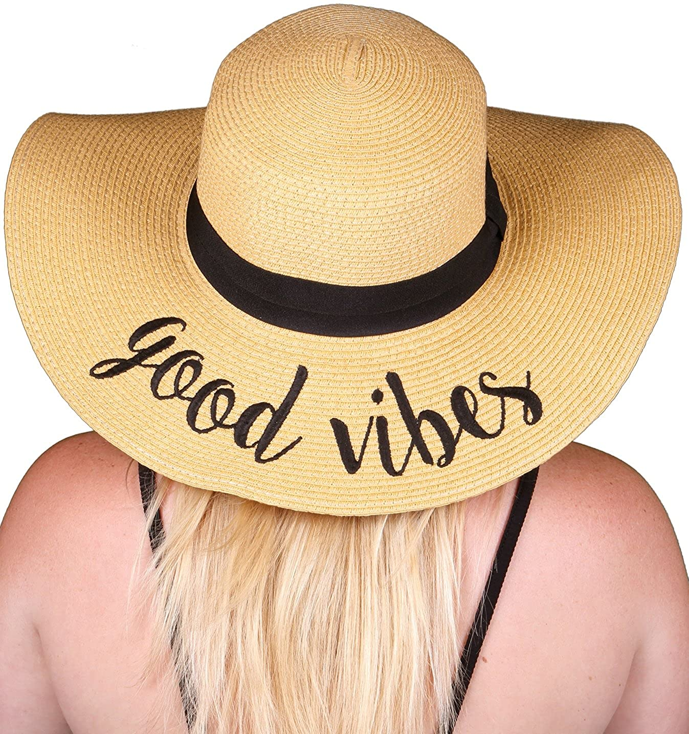 Good Vibes Funky Junque Women's Bold Cursive Embroidered Adjustable Beach Floppy Sun Hat