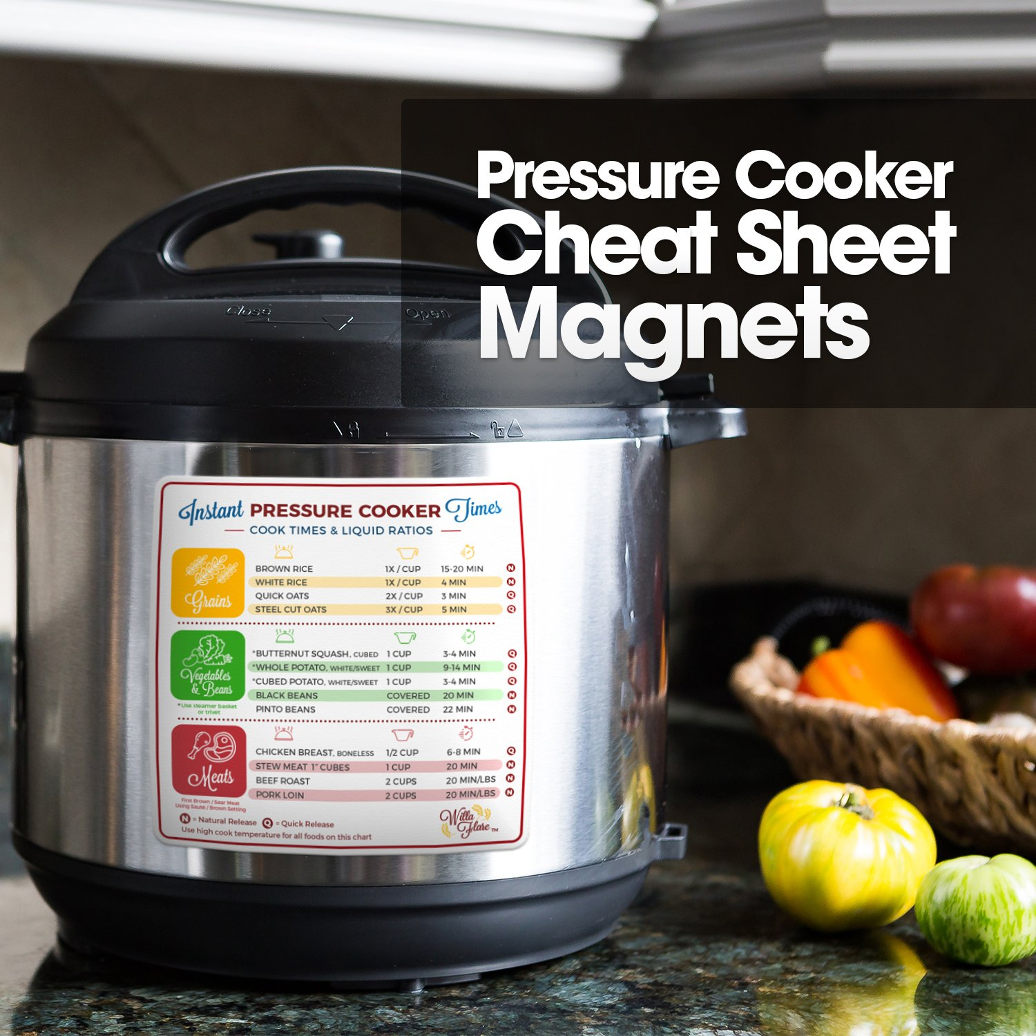Instant Pot Electric Pressure Cooker Cook Times Quick Reference Guide | Instapot Accessories Magnetic Cheat Sheet Magnet Set | Insta Pot Sticker and Decal Alternative | Made in the USA by Willa Flare (Image #3)