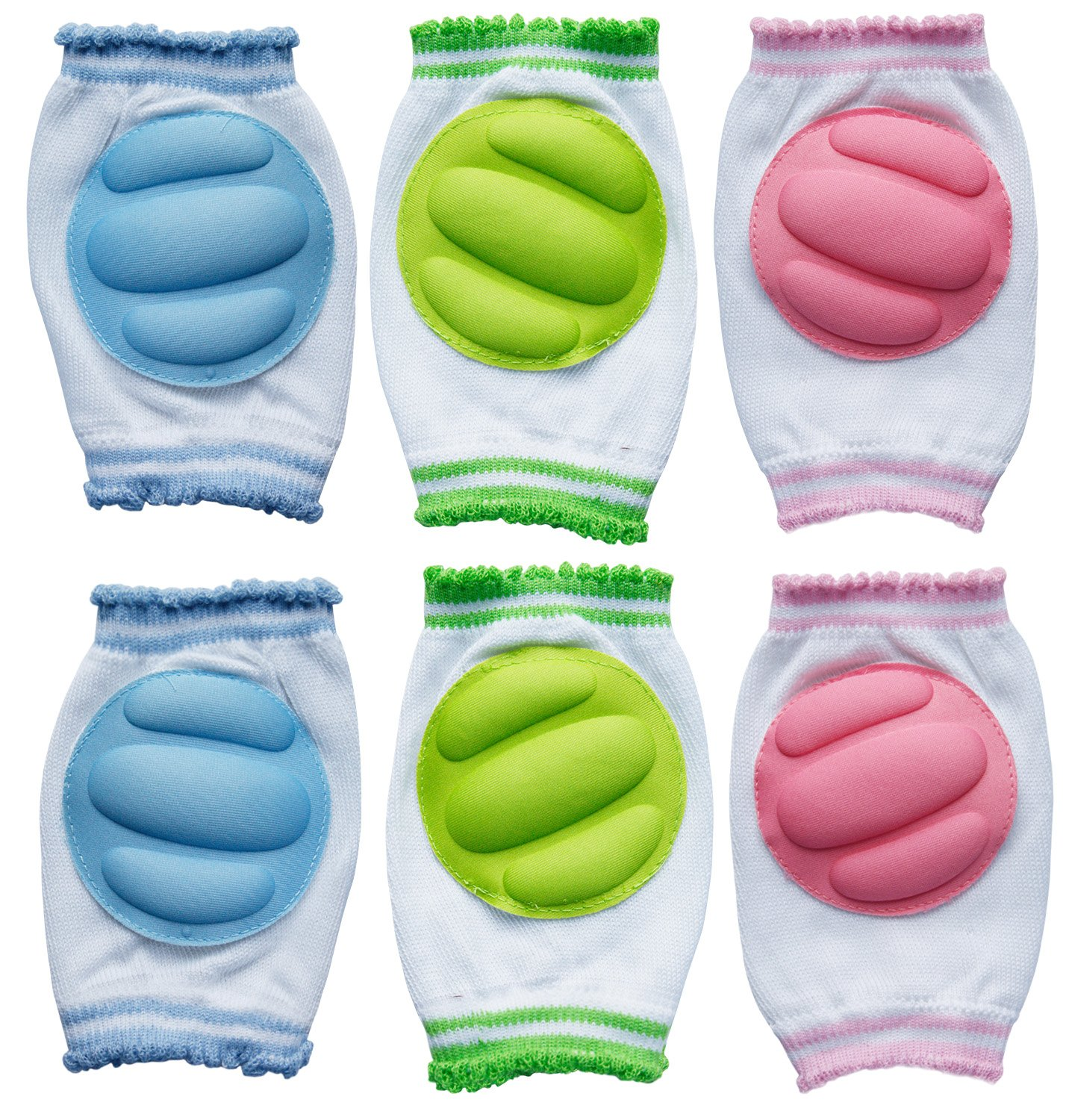 Leyaron Breathable Adjustable Elastic Unisex Infant Toddler Baby Kneepads Knee Elbow Pads Crawling Safety Protector, 3 Pairs