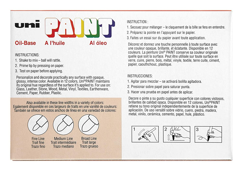 Fine Point Yellow 12-Count Uni-Paint 63705 PX-21 Oil-Based Paint Marker