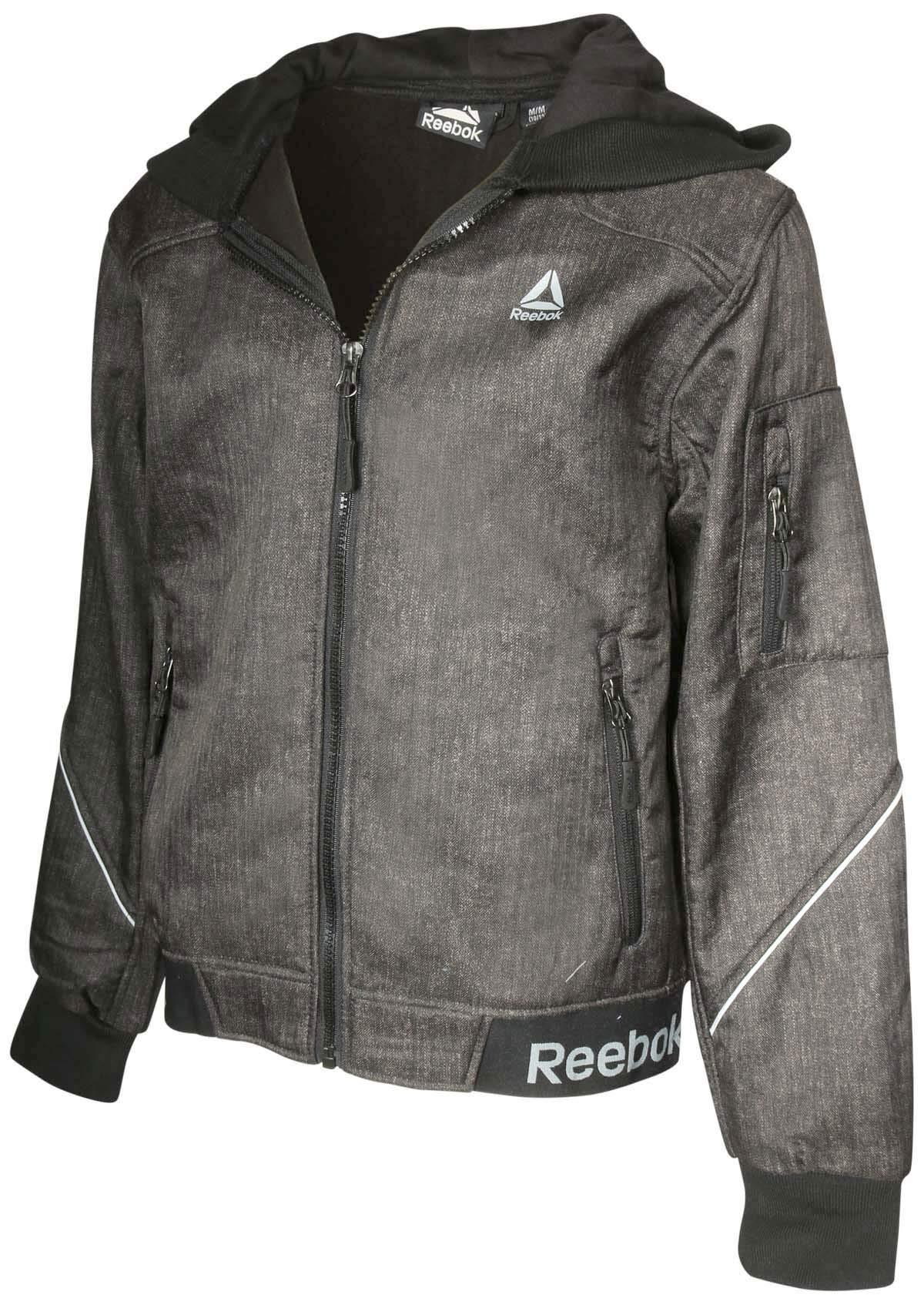 Reebok Boys Soft Shell Fleece Lined Full Zip Jacket, Heather Black/Hood, Size 18/20'