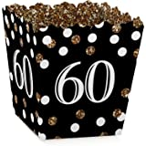 Adult 60th Birthday - Gold - Party Goodie Favor Boxes - Birthday Party Treat Candy Boxes - Set of 12