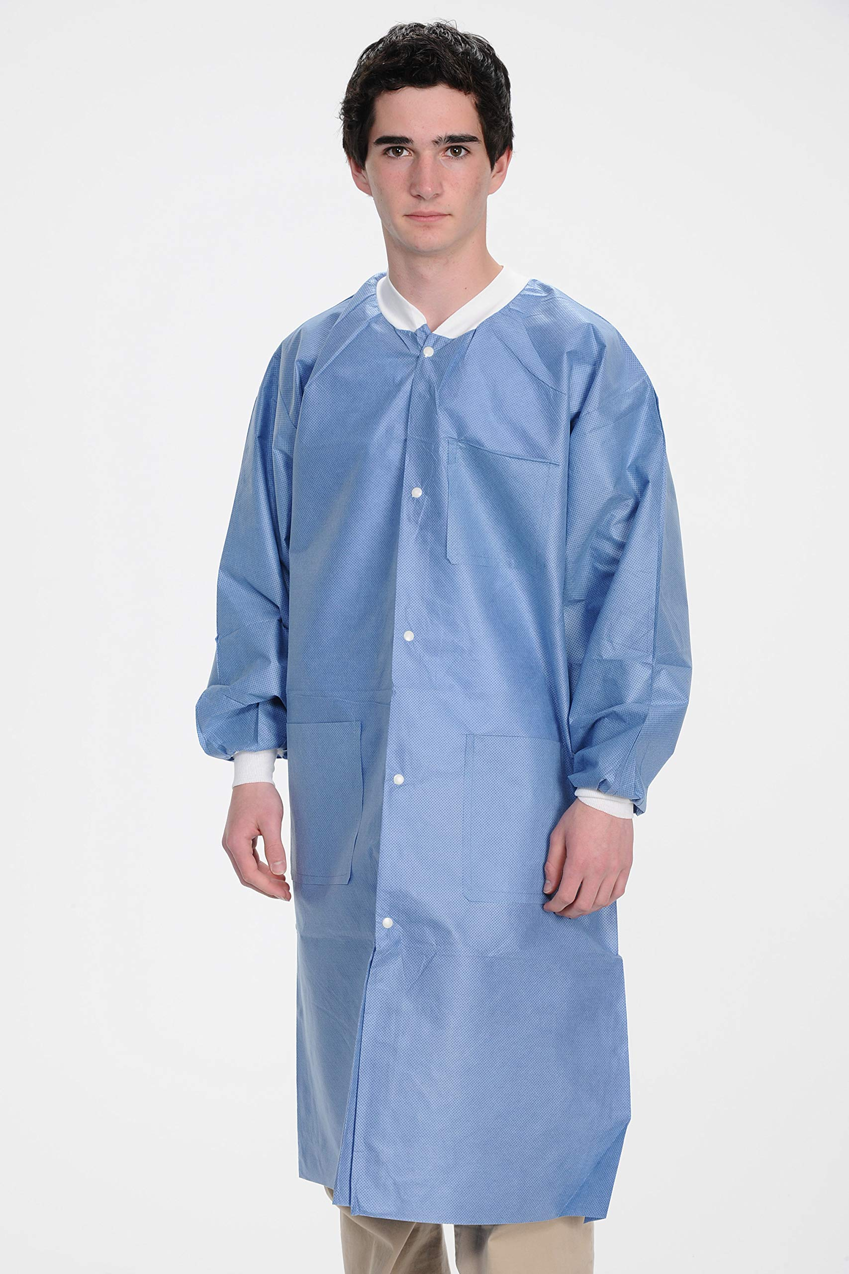 ValuMax 3660CB2XL Extra-Safe, Wrinkle-Free, Noble Looking Disposable SMS Knee Length Lab Coat, Ceil Blue, 2XL, Pack of 10
