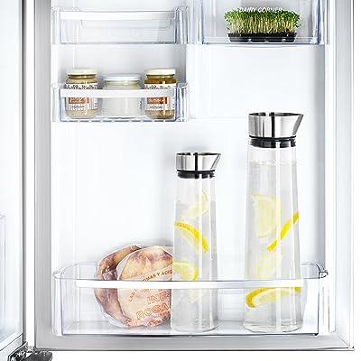 Blomus 63436 Wasserkaraffe 1 L Acqua, Edelstahl matt, Maße: H 30,5 cm, Ø 9 cm, V 1 L, Material: Edelstahl matt, klares Glas, Silikon, Tropffreies Ausgießen dank Edelstahlausgießer, Durch das schlanke Design kann die Karaffe in den meisten Kühlschranktüren untergebracht werden, Auch als 1,5 L Version erhältlich