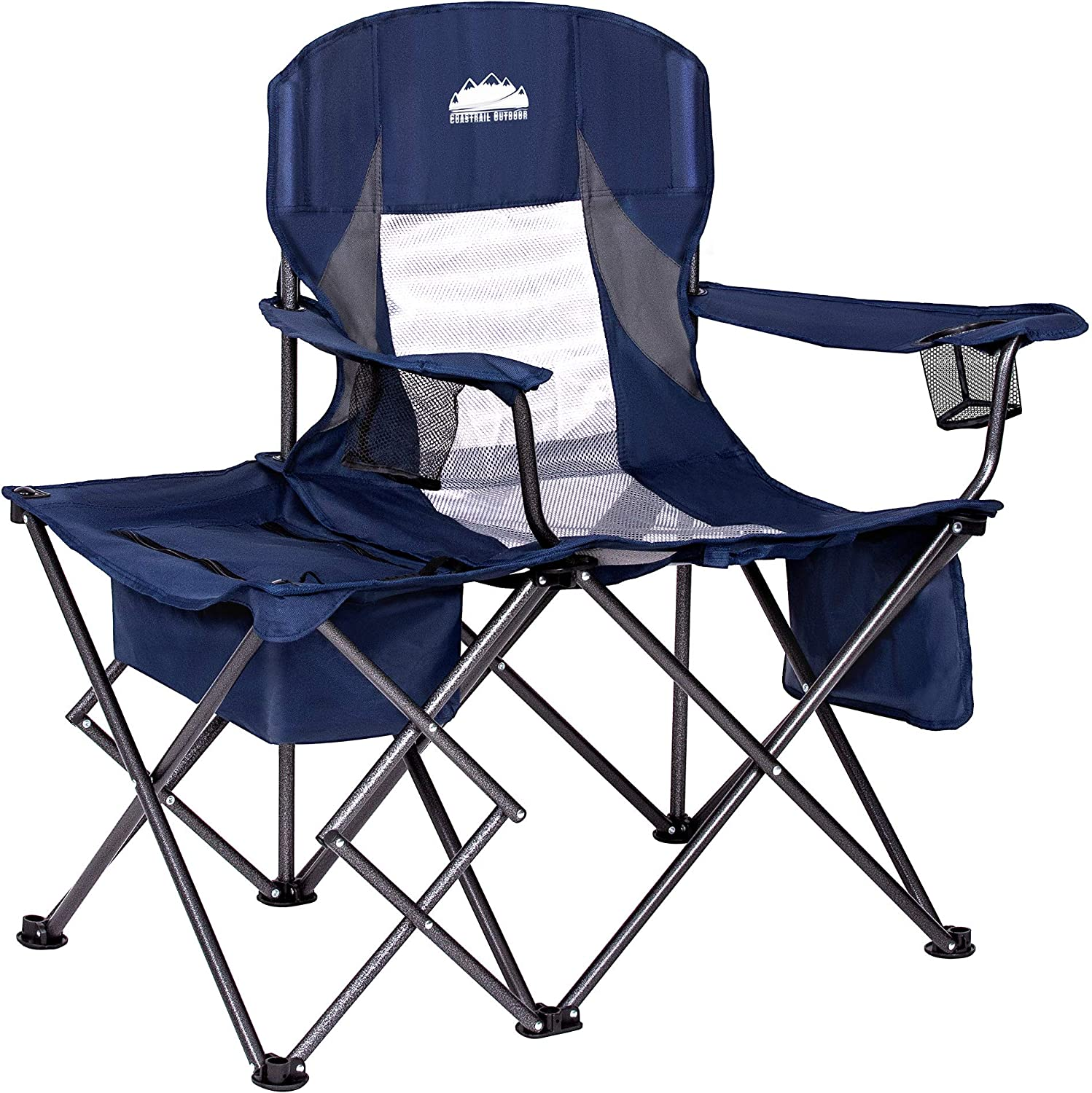 Outdoor Camping Folding Chair with Cup Holder Heavy Duty Large Portable Cooler