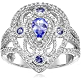 Sterling Silver Tanzanite and Cubic Zirconia Ring, Size 7