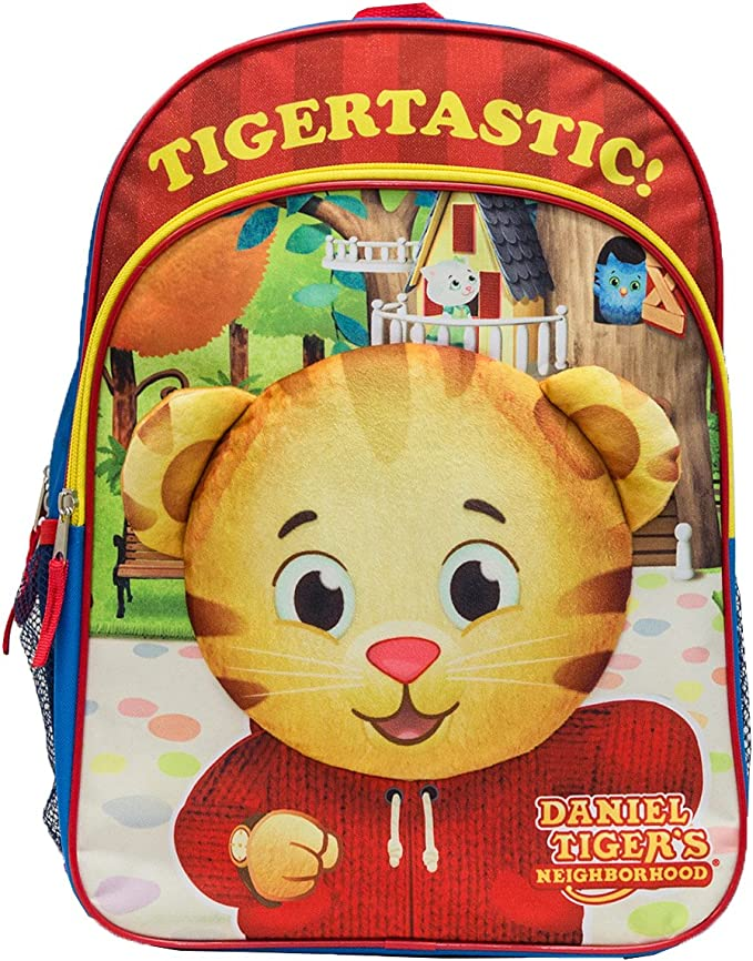 Amazon Com The Fred Rogers Company Boys Daniel Tiger Backpack With Plush Applique Red One Size Kids Backpacks