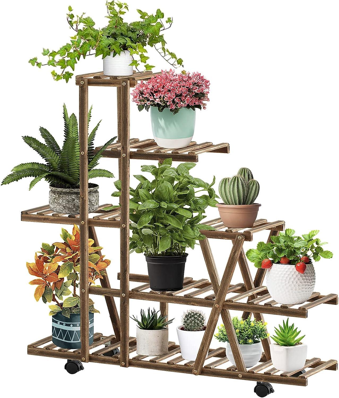 Telfun Plant StandIndoorOutdoor, Plant Display Multi Tier Flower Shelves Stands, Wooden Plant Display Holder Rack for Living Room Corner Patio Balcony Garden(9-13 Flowerpots)