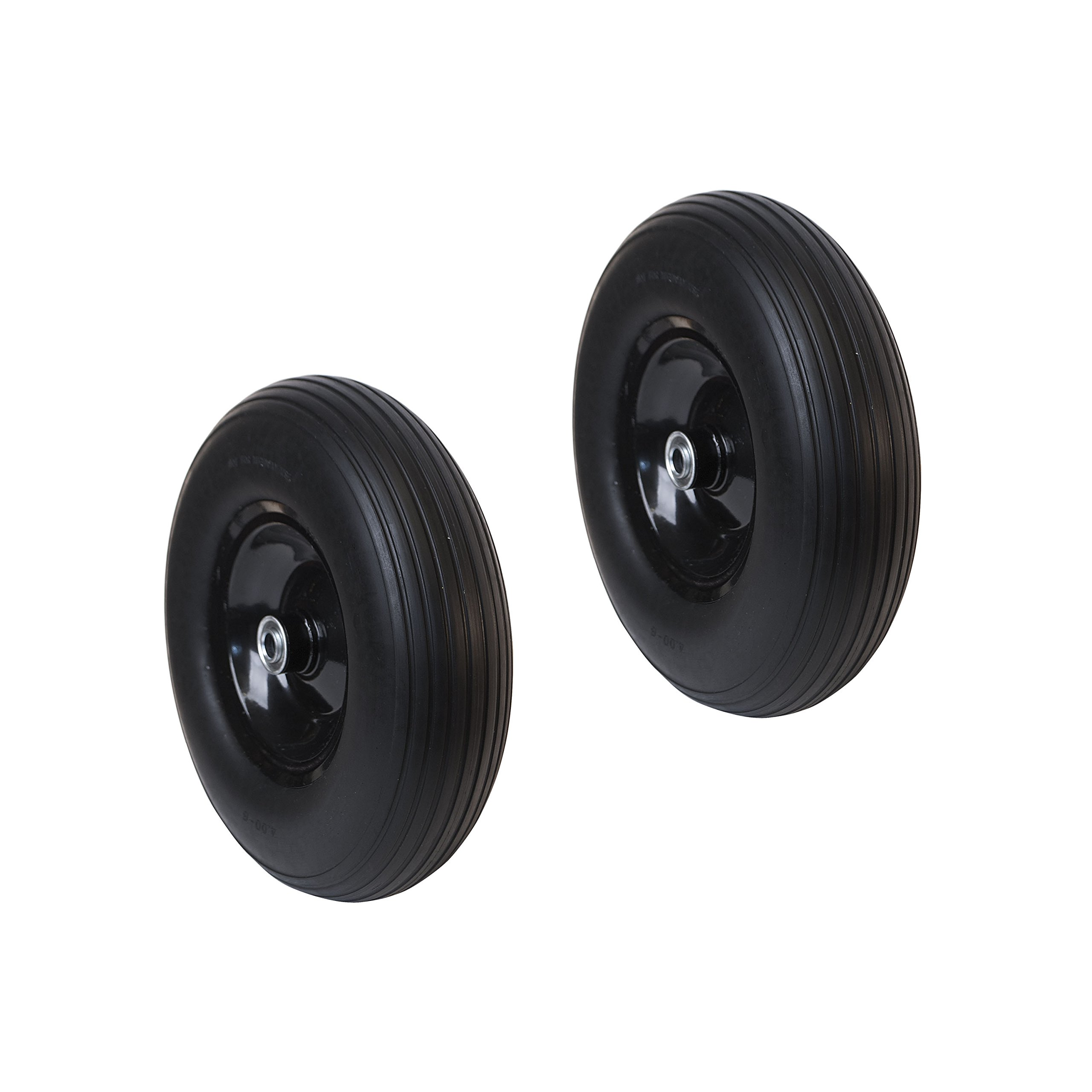 ALEKO 2WBNF13 Anti Flat Ribbed Replacement Wheel for Wheelbarrow 13 Inches No Flat Tire Black Lot of 2 by ALEKO