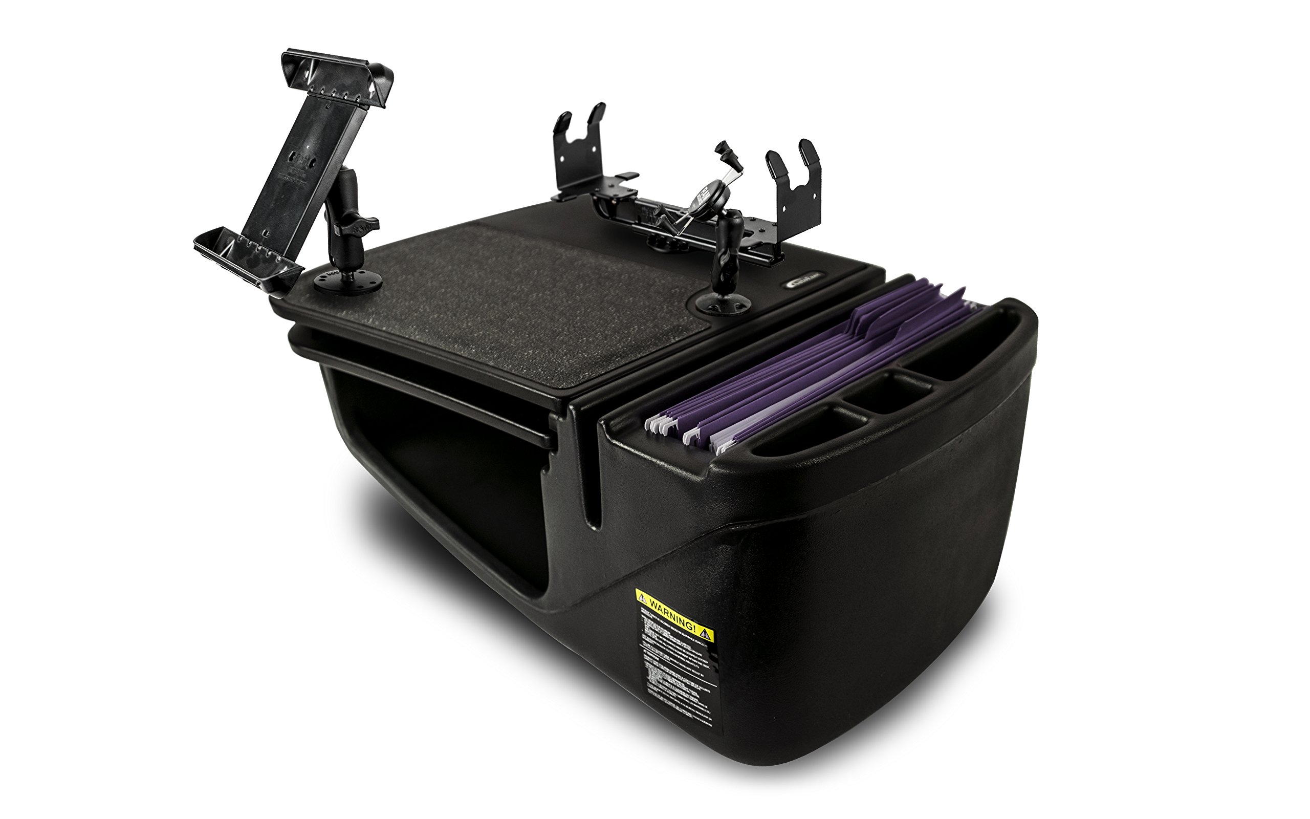 AutoExec AUE19400 GripMaster Car Desk (Black with Built-in Power Inverter, Printer Stand, X-Grip Phone Tablet Mount)