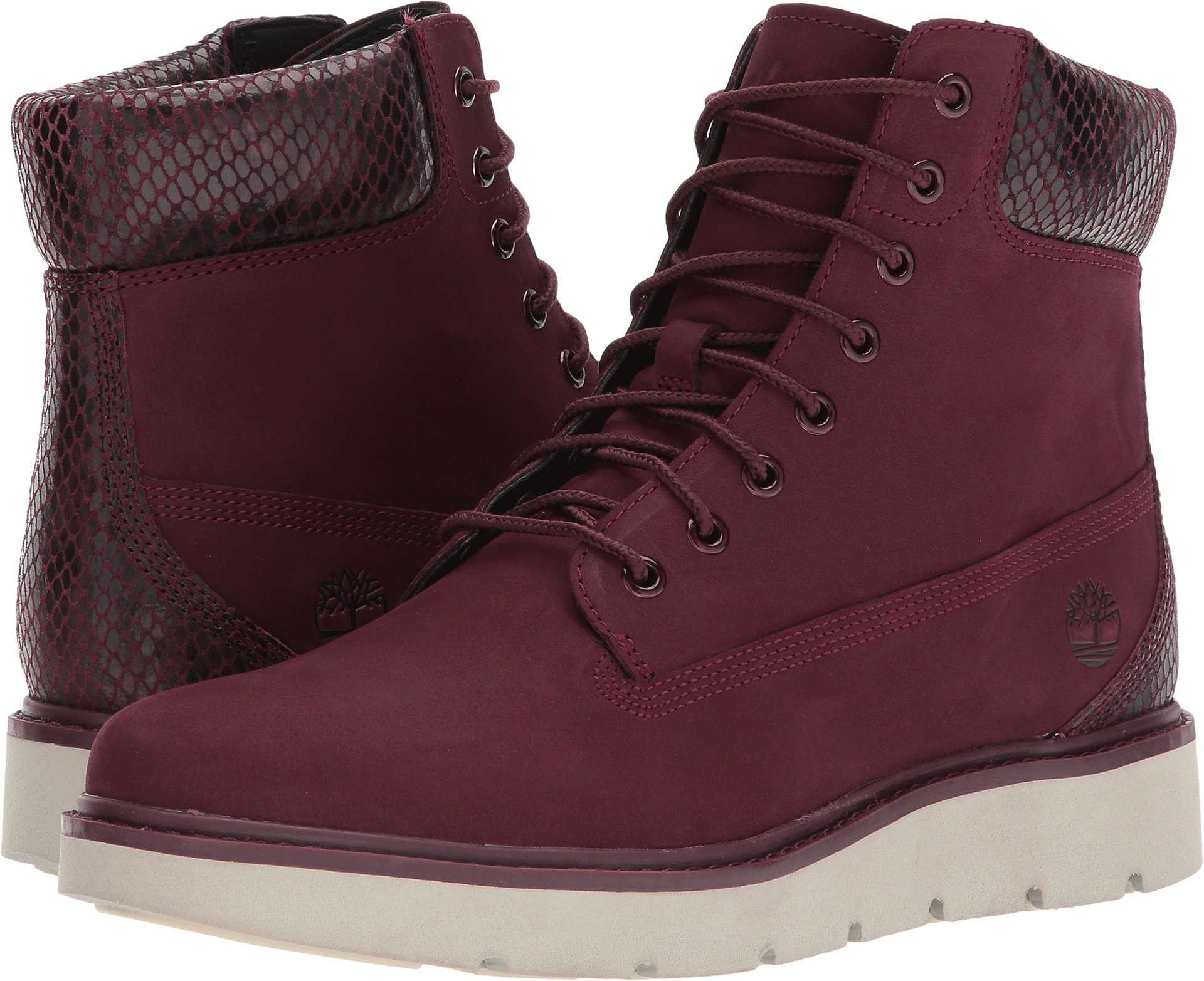 Timberland Womens Kensington 6-Inch Lace-Up Boot Dark Red Nubuck Size 10