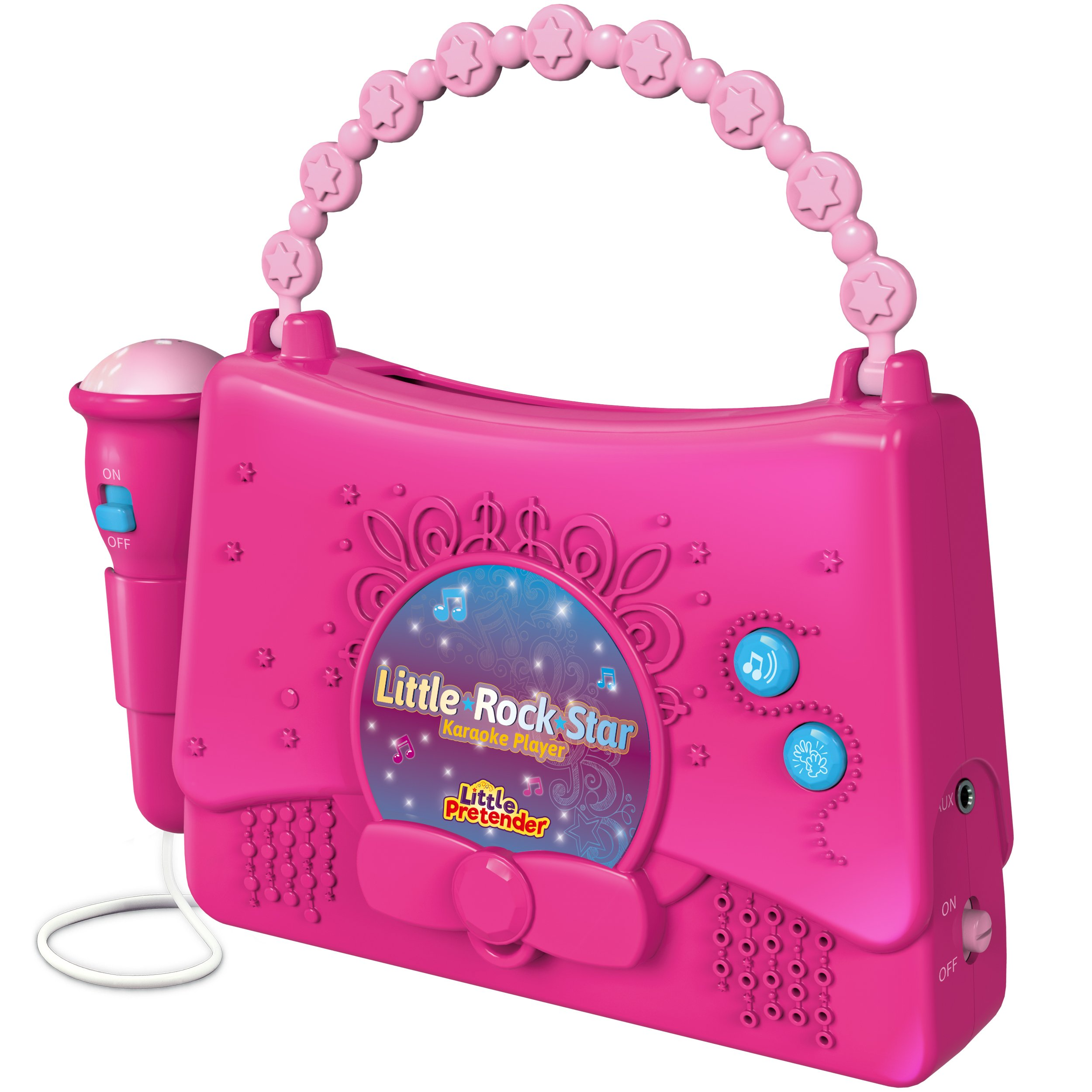 Kids Karaoke Machine for Girls - Little Rock Star Music Player - 10 Programmed Songs - iPod Holder - AUX Cable and Batteries Included by Little Pretender