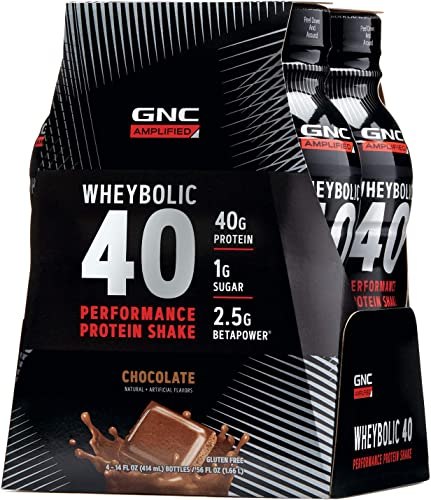 GNC AMP Wheybolic 40 – Chocolate, 4 Bottles, Meal Replacement Shake