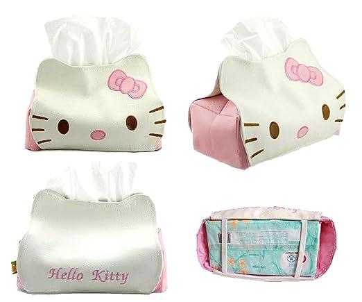 Hello Kitty Portapañuelos Bebé Limpiador Soporte Piel Papel Caja de niña accesorio: Amazon.es: Hogar