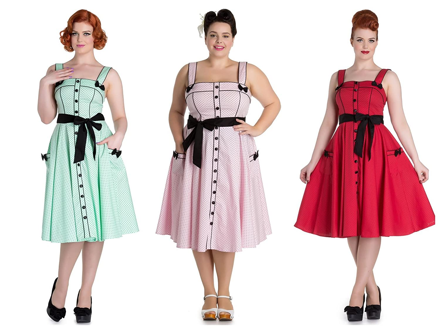 Hell Bunny Martie Rockabilly Retro 1950s Dress at Amazon Womens Clothing store: