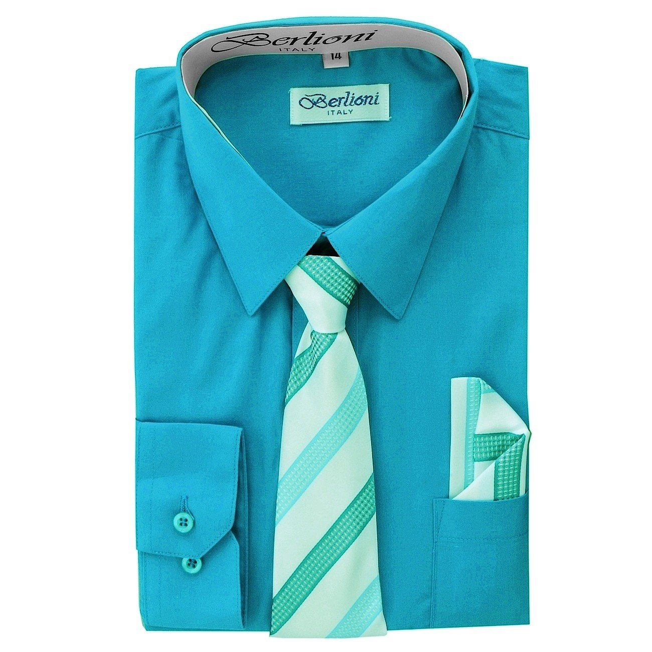 Boy's Dress Shirt, Necktie, and Hanky Set - Turquoise, Size 16 Boy's Dress Shirt N-707