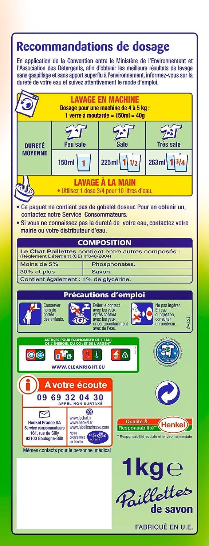 Le Chat Paillettes Detergente, 1 ° kg, 25 lavados: Amazon.es ...