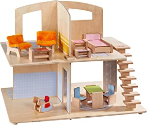 HABA Little Friends Dollhouse Town Villa with 10 Pieces of Furniture