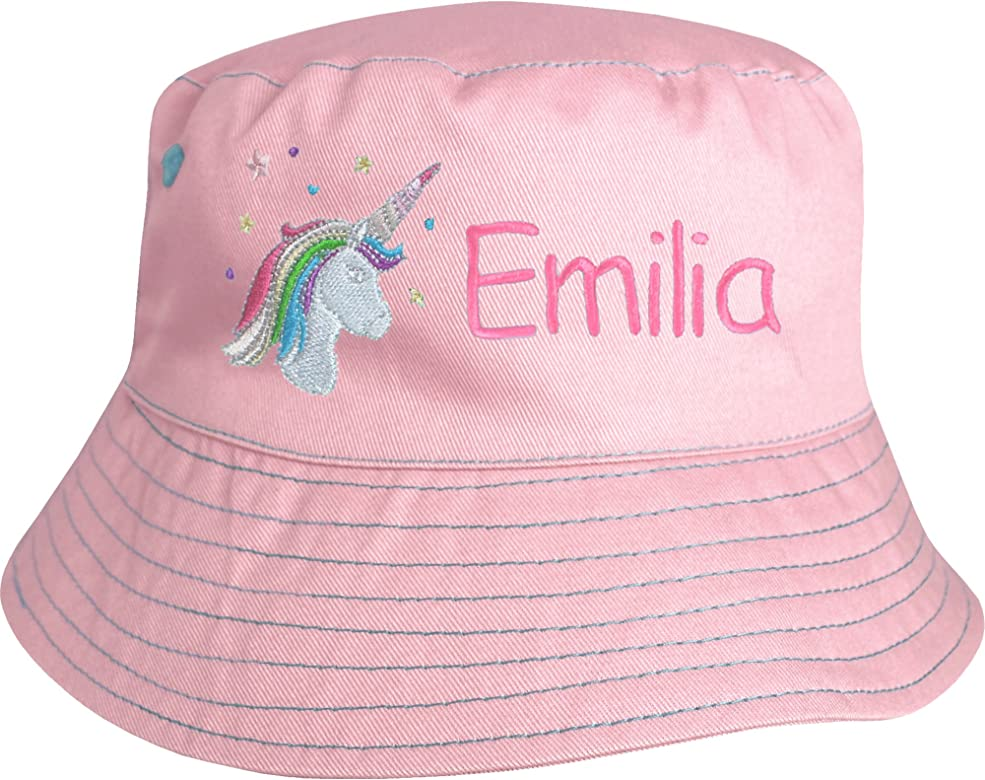 Girls Kids Pink Butterfly Personalised name Baseball cap adjustable cotton hat