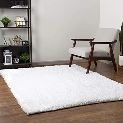 Super Area Rugs Washable Soft Shag Rug with Non-Skid Backing, Snow White, 7 6 x 9 6