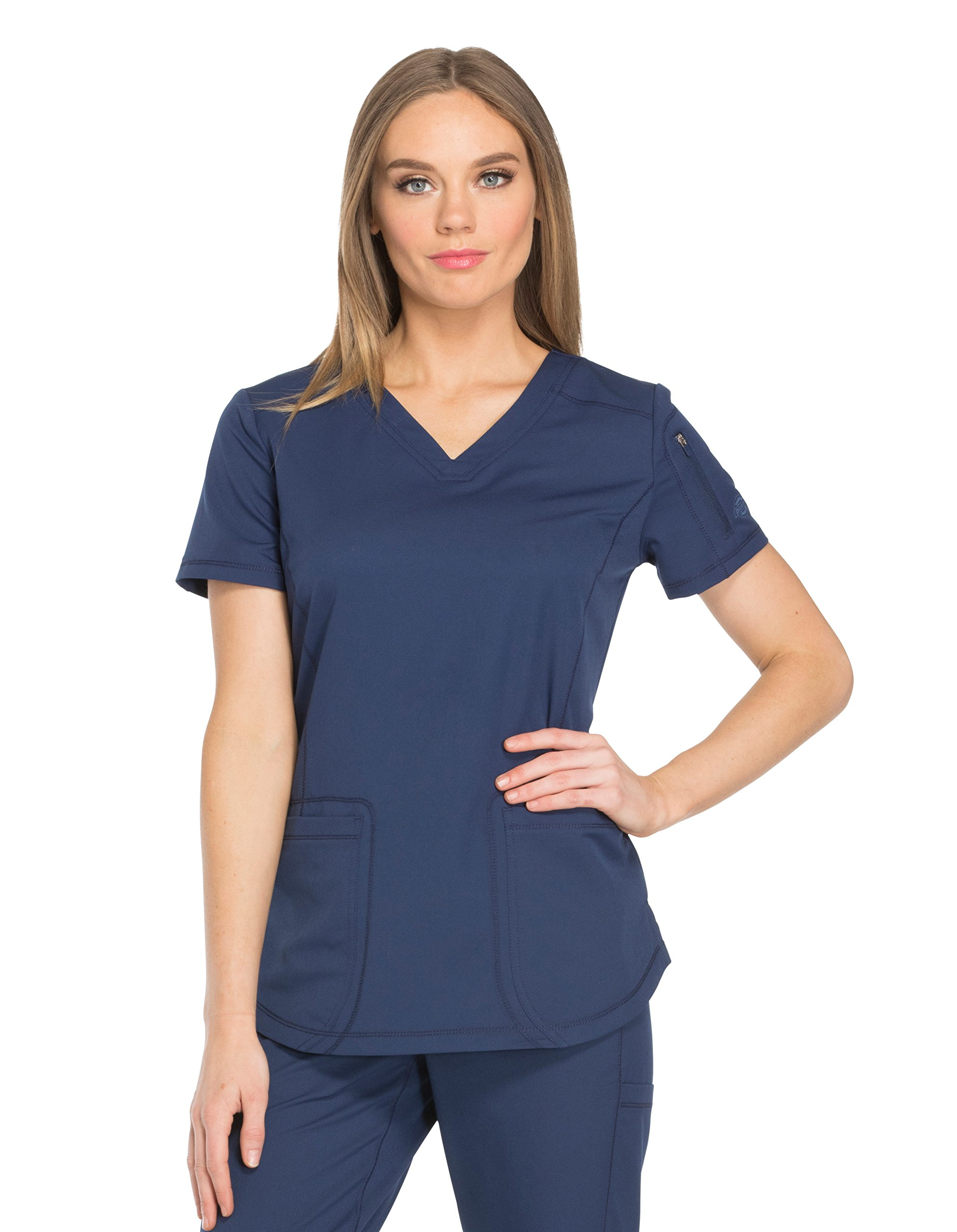 Dynamix Women's DK730 V-Neck Top by Dickies Medical- Navy- L
