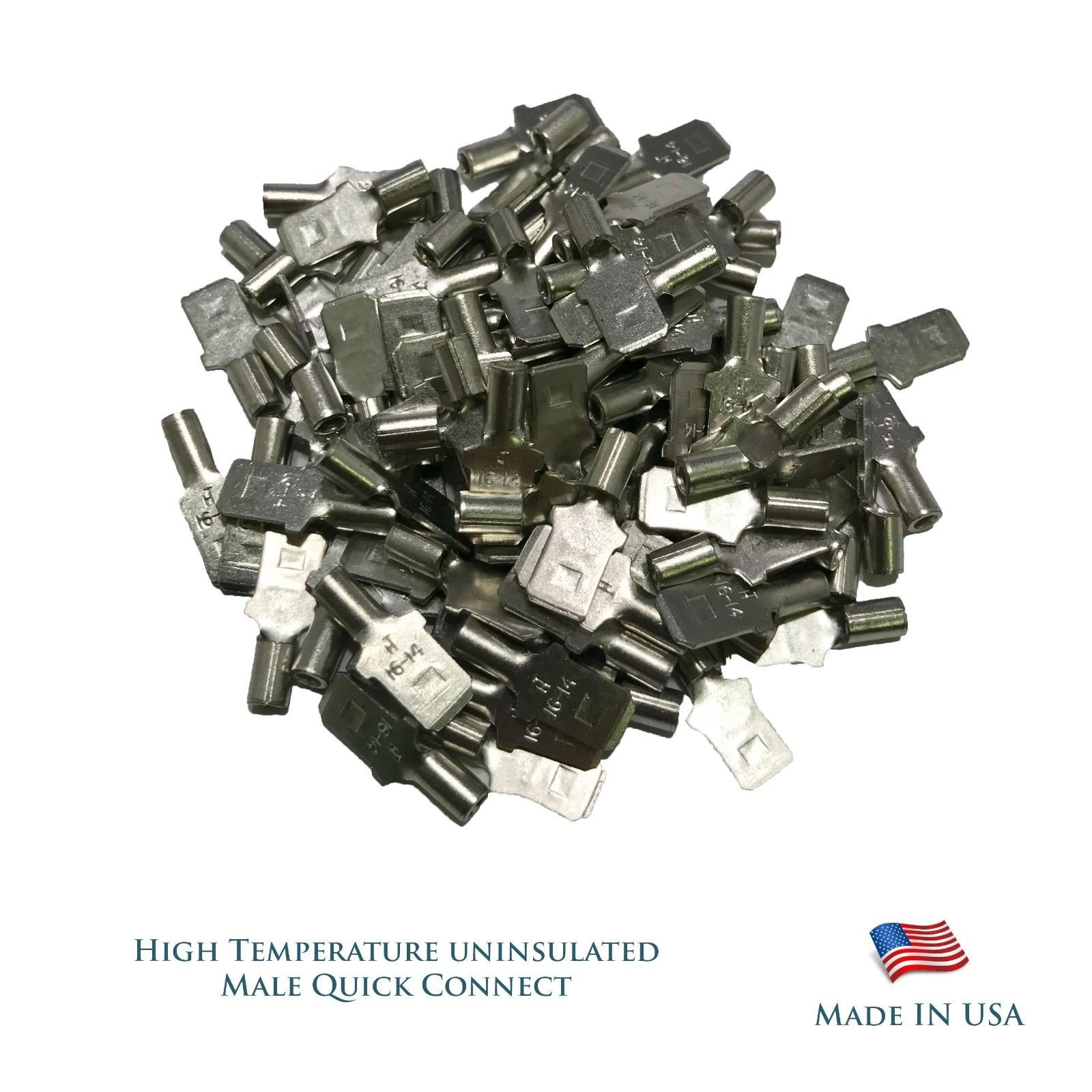 Sherco-Auto High Temperature 100 Pieces Male Quick Connect Terminal 16-14 AWG Gauge .250 MQC - USA Made