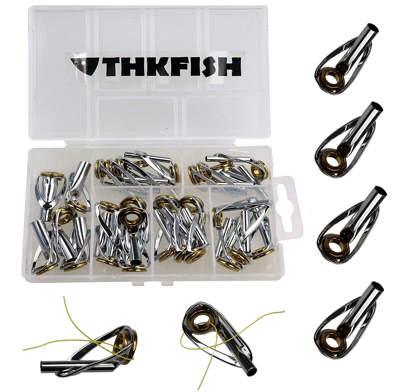 thkfish Fishing Rod Tip Repair Kit, 30pcs Sliver Body Fishing Golden Ceramic Ring Sea Saltwater Heavy Duty Fishing Tip Tops Fishing Rod Guides Tip Repair Kit