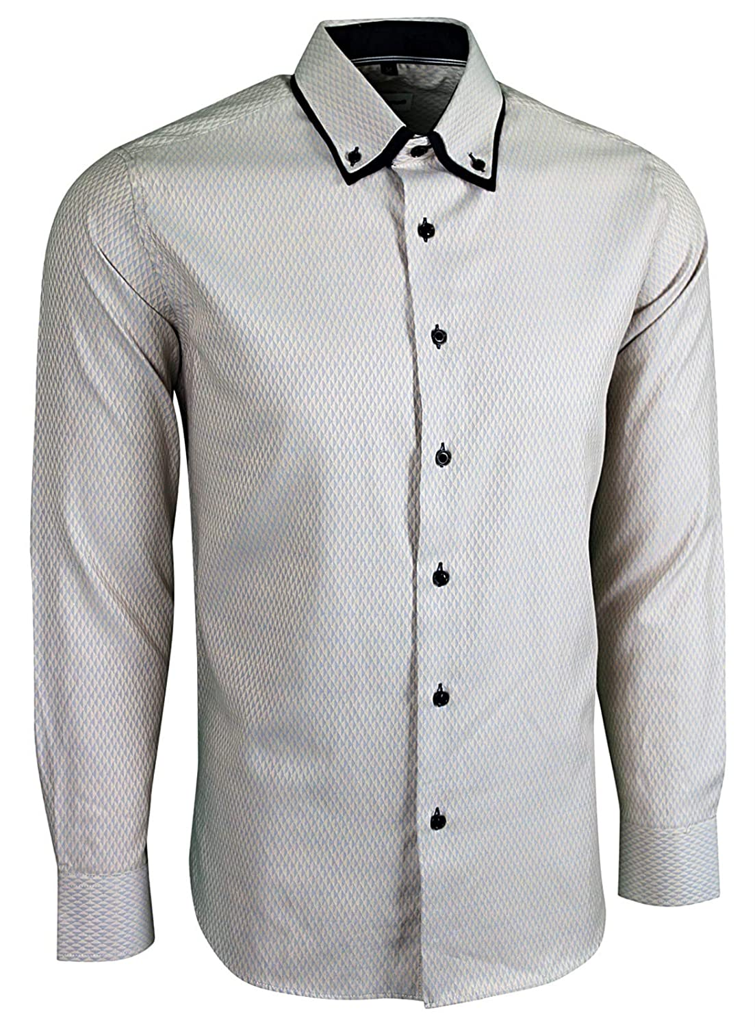 Mens Italian Style Smart Casual Formal Classic Summer Aztec Button