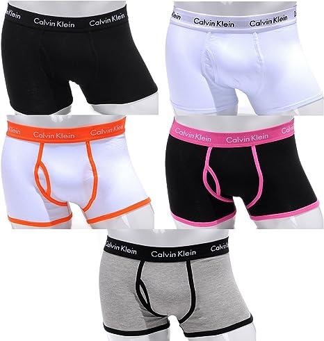 Calzoncillos para hombre tipo bóxer Calvin Klein 365 - algodón, 5 unidades, (1 Black-Black - 1 White-White - 1 White-Orange - 1 Black-Pink - 1 Grey -black), L - (Large): Amazon.es: Deportes y aire libre