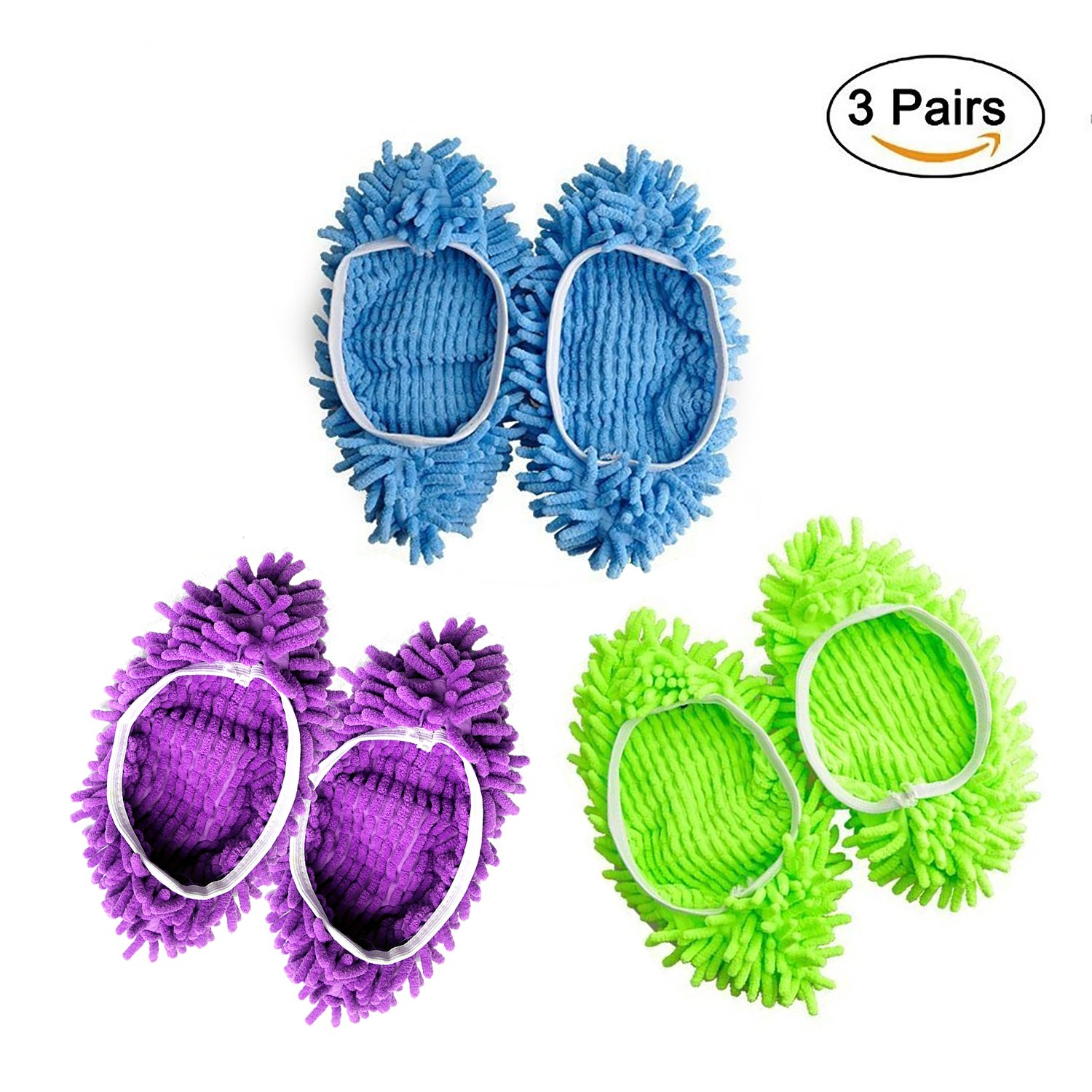 Multifunctional Microfiber Dust Cleaner Mop Slippers Shoe Cover, 3 pairs Washable Home Floor Cleaning Lazy Dusting Mopping Slipper Shoes (Multi)