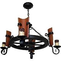 Lámpara rústica de rueda de carro 4 luces
