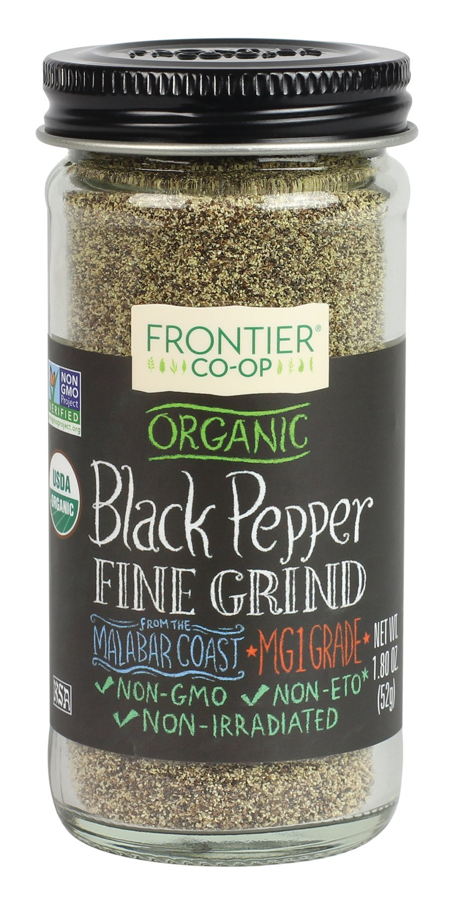 Frontier Natural Products Pepper, Og, Black, Fine Grnd, 1.80-Ounce