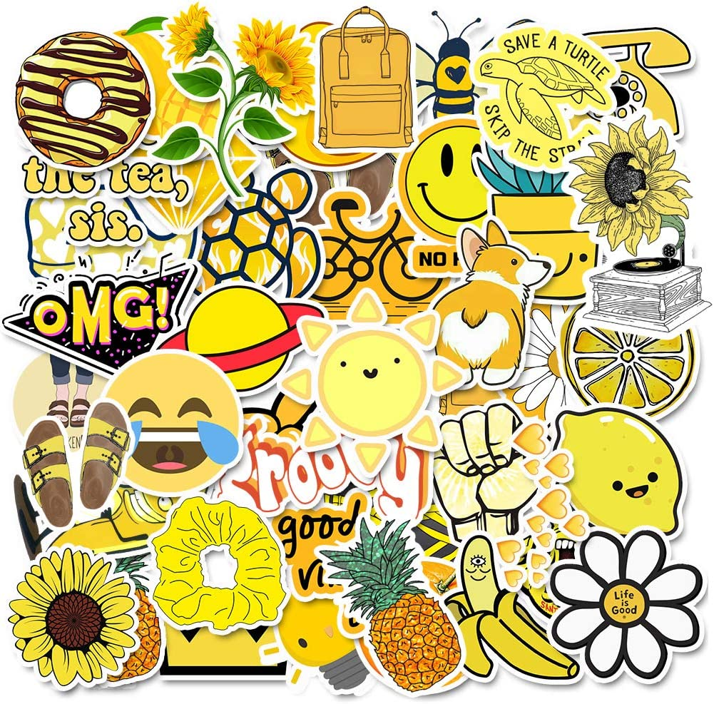 Stickers for Water Bottles, | Big 46-Pack | Cute,Waterproof,Aesthetic,Trendy Stickers for Teens,Girls,Perfect for Laptop,Hydro Flask,Phone,car,Skateboard,Travel| Extra Durable 100% Vinyl (Yellow 50)
