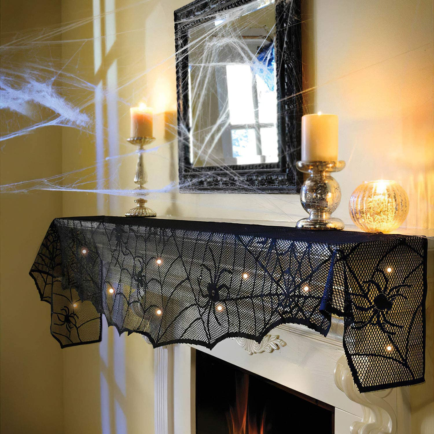 FUN LITTLE TOYS Halloween Lace Spiderweb Fireplace Mantle, 8.4 Feet String Lights for Halloween Home Party Decor