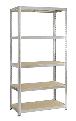 Avasco 5400431640007-175 fuerte clip de estanter/ía//haul metal//madera con 6 estantes 200 x 100 x 40 cm clara galvaniza