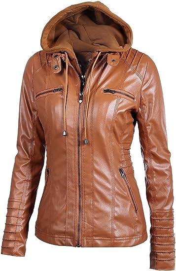 Sanyouletoo damska kurtka z kapturem, ze sztucznej skÓry, zdejmowana, z zamkiem błyskawicznym: Odzież
