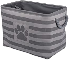 Bone Dry DII Pet Toy and Accessory Storage Basket for Home Décor & Everyday Use, Gris (Rectangle Striped Gris)