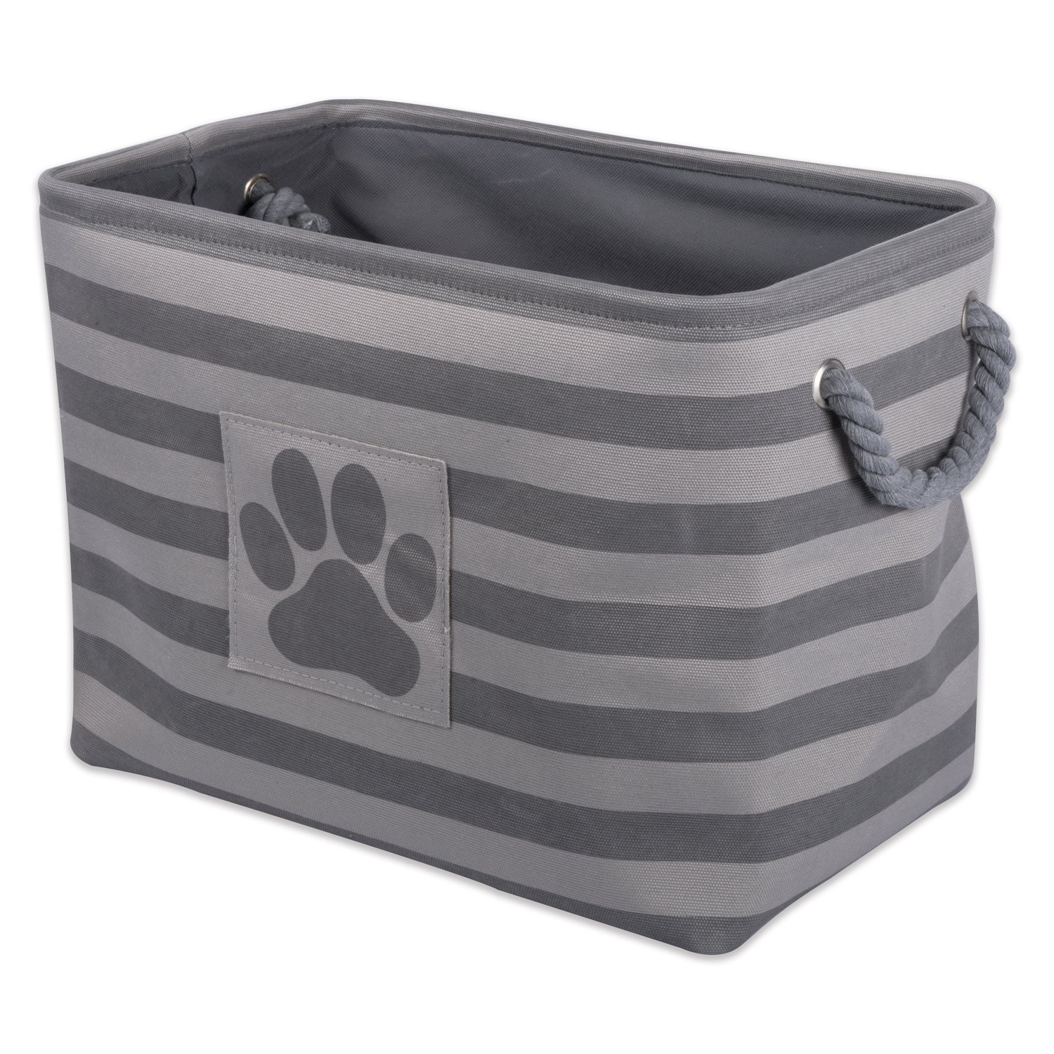Bone Dry DII Large Rectangle Pet Toy and Accessory Storage Bin, 18x12x15, Collapsible Organizer Storage Basket for Home Décor, Pet Toy, Blankets, Leashes and Food-Gray Stripes